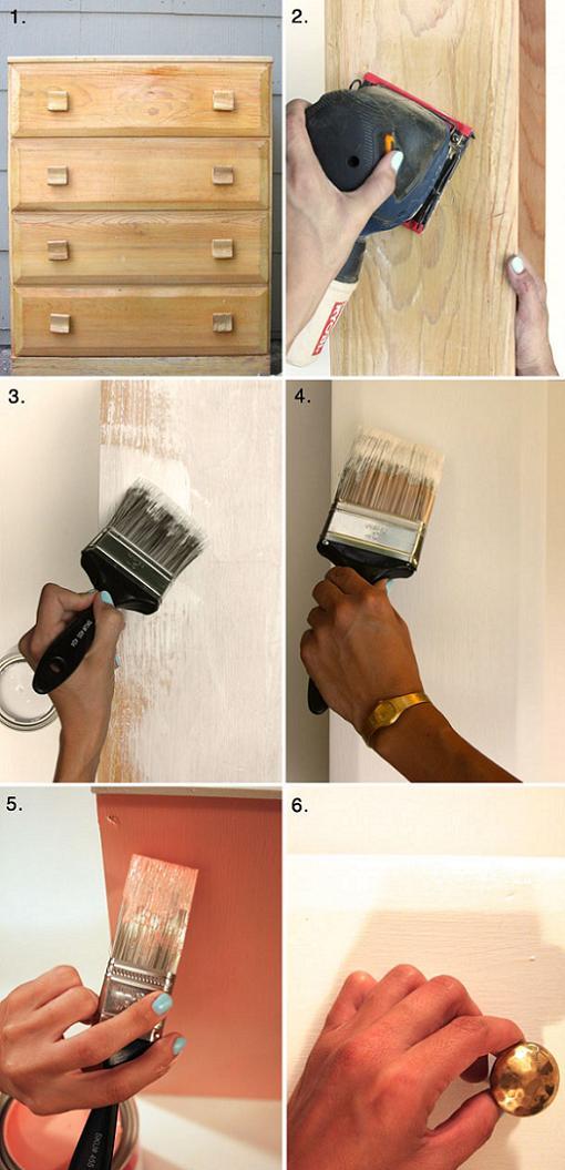 pintar comoda de blanco y dorado tutorial