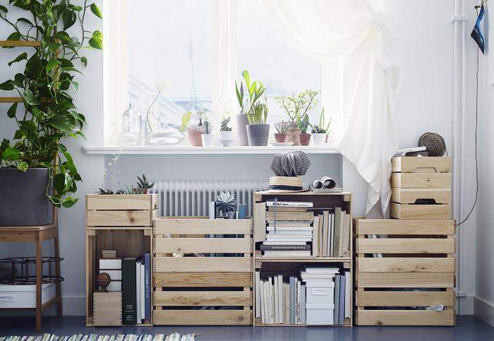 cajas de madera de fruta ikea