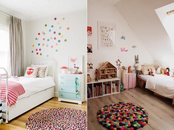 alfombra de pompones en el dormitorio infantil