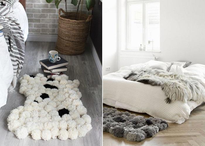 alfombra pompones dormitorio