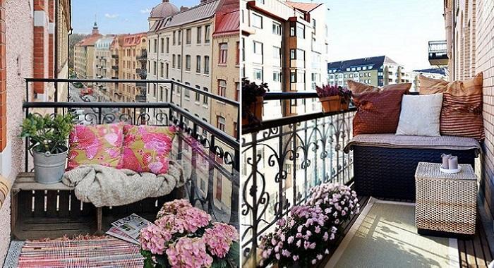 decorar balcones pequeños banco