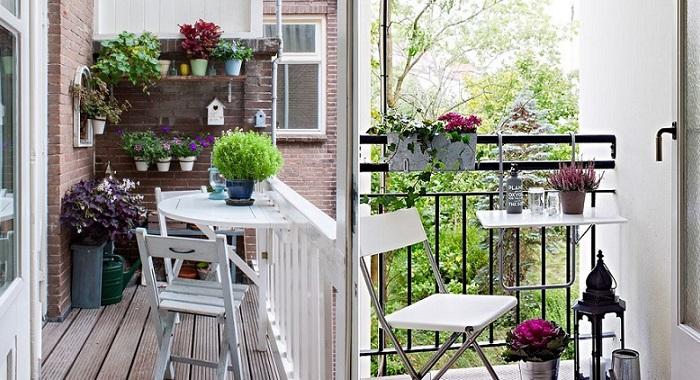 decorar balcones pequeños con mesa comedor