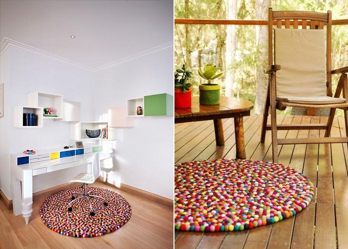 decorar con alfombras de pompones