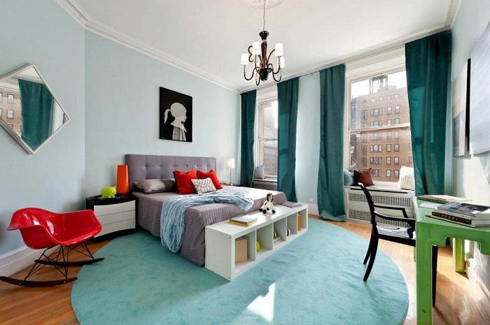 dormitorio azul pastel