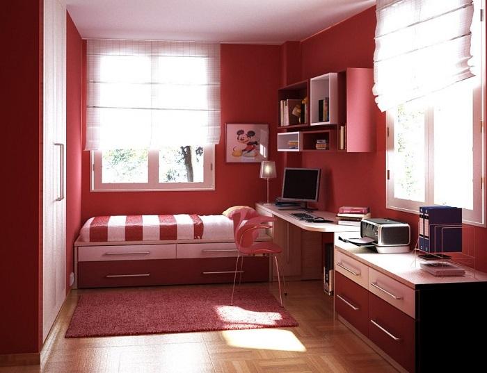 habitación juvenil roja