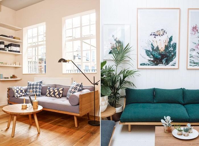 sofá con patas de madera