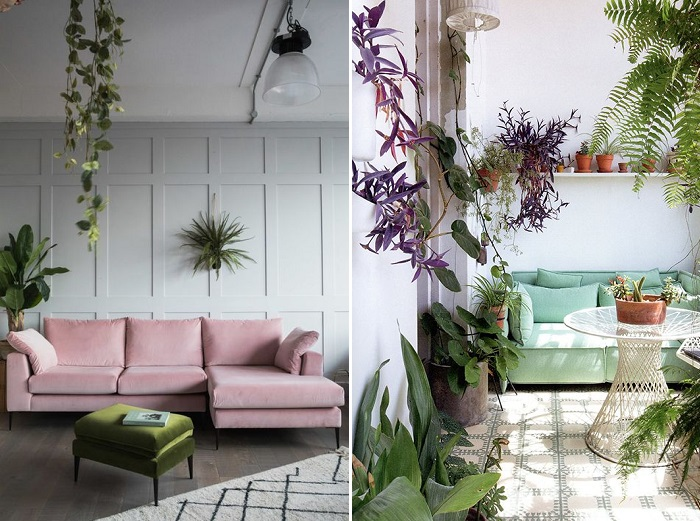 sofás de colores pastel
