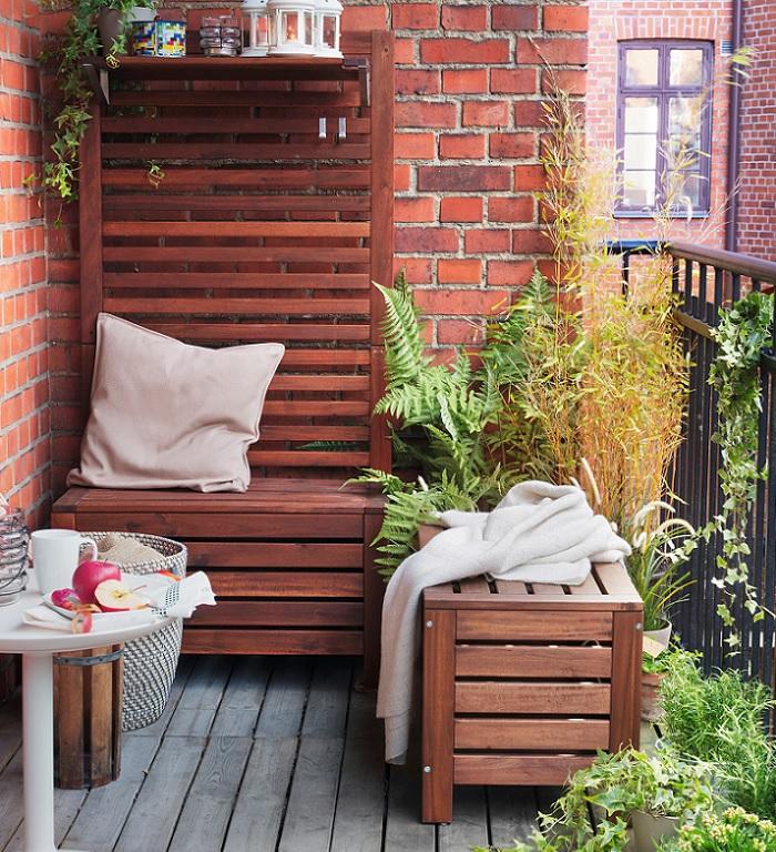 bancos de jardin de madera con almacenaje y regadera
