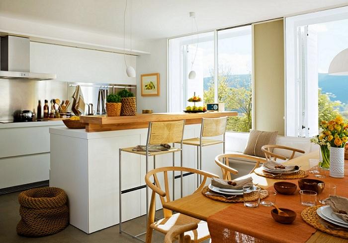 cocinas con isla con barra y mesa separada