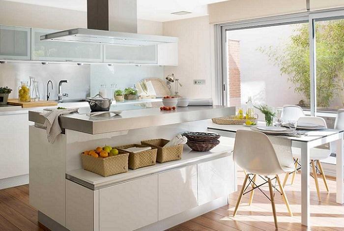 cocinas con isla y mesa moderna