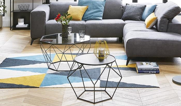 mesas de centro de cristal hexagonal moderna