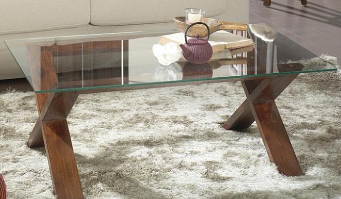 mesas de centro de cristal rectangular