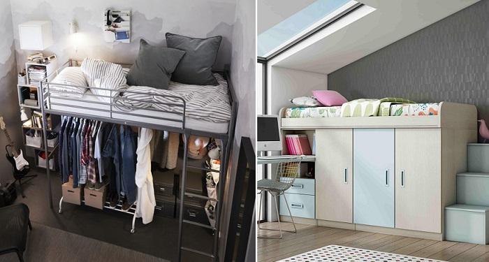 camas altas juveniles armario