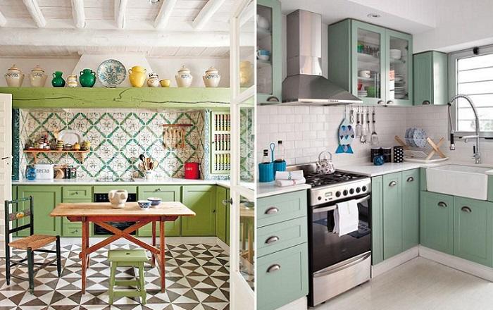 cocinas rusticas verdes