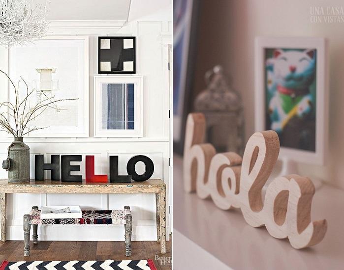 letras decorativas en la entrada