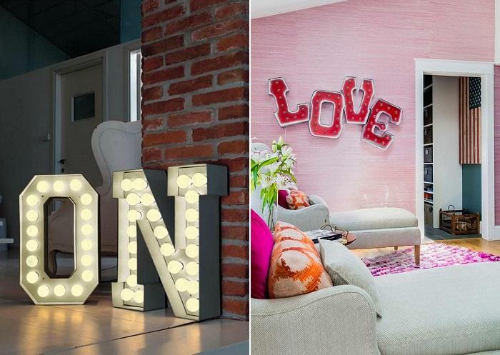 letras decorativas LED