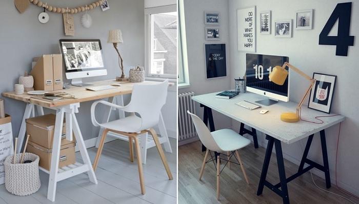 mesas de oficina con caballetes